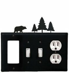 Bear - Single GFI, Double Switch and Single Outlet Cover by Village Wrought Iron. $18.32. Bear - Single GFI, Double Switch and Single Outlet CoverApprox. 8 1/4 In. W x 8 In. H Please allow 4 to 6 weeks for delivery.