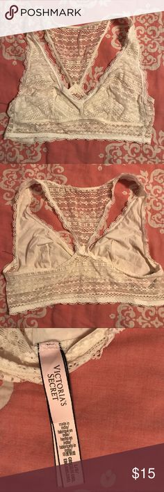 Cream Colored Lace Bralette by Victoria's Secret Size large Bralette from VS in a lovely creamy color. Looks beautiful and feminine layered under a flowy tank top or all on its own! Must-have for spring and summer! Victoria's Secret Intimates & Sleepwear Bras