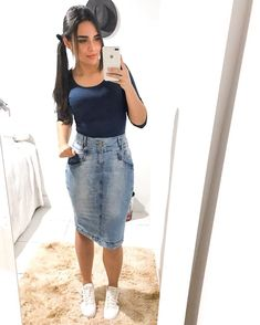 Cute Modest Outfits, Pretty Outfits, Chic Outfits, Girl Outfits, Denim Skirt Outfits, Denim Outfit, Fashion Wear, Fashion Outfits, Pentecostal Outfits