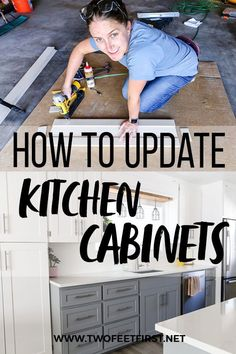 Kitchen makeovers can be expensive. What if I told you I had a cheaper way to update your kitchen cabinets? That's right, I will show you how to DIY kitchen makeover by making shaker door cabinets. The best part is you don't even need to replace you existing cabinets. You can change the entire look of your kitchen by simply adding trim to your old cabinet, saving you time and money. #twofeetfirst Update Kitchen Cabinets, Old Cabinets, Diy Kitchen, Kitchen Ideas, Kitchen Decor, Shaker Cabinet Doors, Shaker Cabinets, Kitchen Cabinet Doors, Diy Ideas