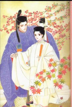 Hikaru and Yuugiri Genji from The Tale of Genji, illustrated by Waki Yamato.