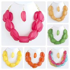 Candy Colored Stacked Jewel Necklace & Earring Set - RubeeLane.Com only $12.99 very cute and super cheap!