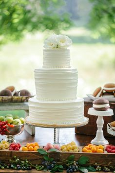 #Wedding Cake surrounded by fruit and Whoopie Pies - My kind of dessert table! |  | Via SMP: www.stylemepretty... | Cake by Topsfield Bakeshop