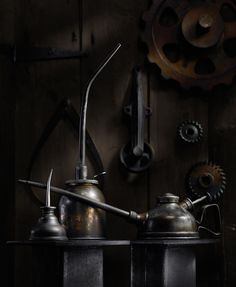 Oil Cans #1, photograph by Harold Ross. Light Painting, Still Life, Sculpting with Light.