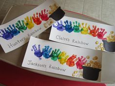 Here are bunch of fun st patricks day handprint footprint and fingerprint crafts for kids to make! Find leprechauns gold rainbows and shamrocks! Here are bunch of fu Kids Crafts, St Patrick's Day Crafts, Daycare Crafts, Classroom Crafts, Crafts For Kids To Make, Baby Crafts, Toddler Crafts, Holiday Crafts, Art For Kids
