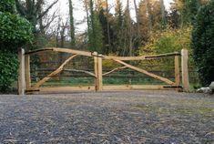 Forked Chestnut Entrance Gates - Ed Brooks Sweet Chestnut, Farm Gate, Cedar Log, Wooden Gates, Driveway Gate, Entrance Gates, Fencing, Hedges, Indoor Garden