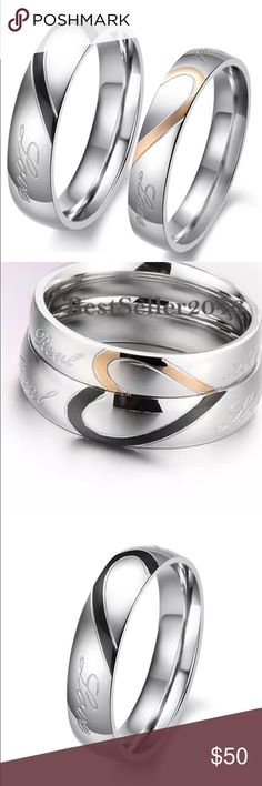"""Beautiful his & hers """"real love"""" ring set! Beautiful stainless steel ring set. Woman's ring is gold & Silver color (4mm) and the man's ring is black and silver color (5mm). Sizes available - 8-15 with all half sizes available for men and 5-13 with all half sizes available for women. Comment which size you'd like and that's what I'll send!!😀 Jewelry Rings"""