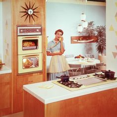"""""""I kind of dig the relationship between this stove and double wall oven kitchen. Also, Lady, how big of a crowd are you feeding to be cooking both a ham and a turkey???"""" How Much Counter Space You Really Need in Your Kitchen - Bon Appétit"""