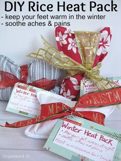 A DIY craft - Rice Heat Packs - An easy sewing project to give as frugal gifts.