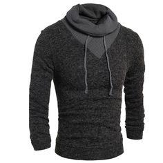 스웨터 스웨터 남성 2016 남성 브랜드 캐주얼 슬림 스웨터 남성 얇은 델타 바느질 회피 높은 칼라 남성 스웨터 XXL VNVT
