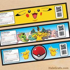 pokemon water bottle labels FREE Printable Pokémon Water Bottle Labels