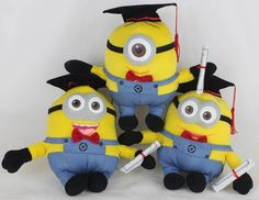 """3X Despicable Me 9.5""""/24cm Doctor Minion Stuffed Animal for Graduate promotion"""