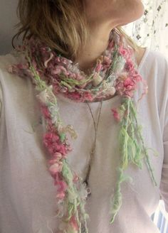 rustic soft and curly handknit scarf lariat by beautifulplace