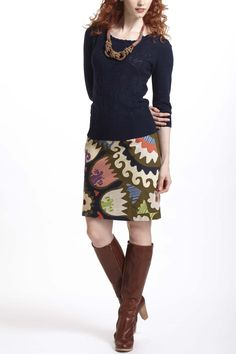 I want this whole outfit.    Mantilla Sweater & Tulippa Skirt - Anthropologie.com