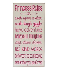 Cream & Pink 'Princess Rules' Wall Sign