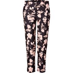SUNO Black/Blush Floral Cropped Pants ($418) ❤ liked on Polyvore