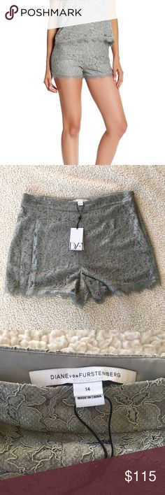 "NWT Diane Von Furstenberg Fausta Lace Shorts NWT..Beautiful lace shorts in silver. - Side hidden zip with hook-and-eye closure. Lace overlay. Lined - size 14, Approx. 11"" rise, 3"" inseam Diane Von Furstenberg Shorts"