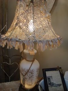 Dream in Cream: ~ Gorgeous lace lampshade