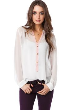 ShopSosie Style : Paloma Chiffon Blouse in Ivory with Pink Trim