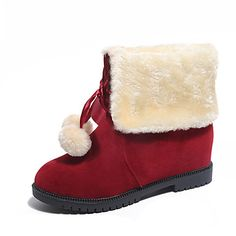 Women's Boots Fall Winter Comfort Leather Outdoor Casual Flat Heel Lace-up Pom-pom Black Brown Red Walking Others