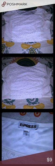 NWOT white crop top. Express crop top. Never worn, but the tags have been taken off. Size small :) Express Tops Crop Tops
