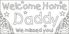 welcome home dad coloring pages - photo#5