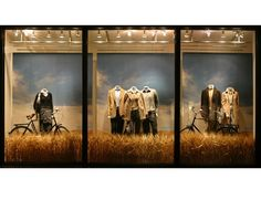 Banana Republic Fall retail window prop design and production  Love the grass boarder, the background, bikes and the lights are awesome!