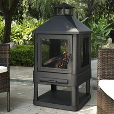 Features:  -Contemporary and durable steel frame.  -Steel fire poker to keep your fire stoked.  Product Type: -Pagoda.  Finish: -Black.  Base Material: -Steel.  Number of Items Included: -2.  Pieces I