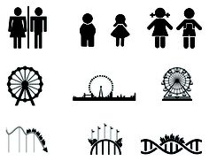 Project 1 - Three examples of Pictograms Amusement Parks Stick Figures, Amusement Parks, Signage, Stencils, Typography, Icons, Graphic Design, Models, Adventure
