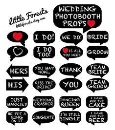 Wedding Photo Booth Props - Chalkboard Signs - Printable, Digital, DIY, Photobooth