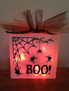 Halloween glass block with orange lights!