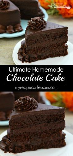 Ultimate Homemade Chocolate Cake is THE BEST RECIPE EVER! And it tastes just like the Chocolate Tower Cake from the Cheesecake Factory! desserts, Ultimate Homemade Chocolate Cake - My Recipe Confessions The Cheesecake Factory, Food Cakes, Cupcake Cakes, Baking Cupcakes, Muffin Cupcake, Cake Fondant, Cupcake Icing, Cup Cakes, Easy Cake Recipes
