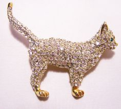 2 Gold Tone Cat Brooch with Swarovksi Crystal Rhinestones Green Eyes by GretelsTreasures, $45.00