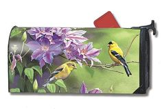 """Finch Pair Mailwraps Magnetic Mailbox Cover by MailWraps. $15.95. Mailwraps Mailbox Covers fit standard metal mailbox 6.5"""" wide and 19"""" long.. Vinyl coated and screen printed for long lasting beauty.. Snaps into place with 2 strong magnetic strips.. Decorative mailbox covers include 3 sets of self-adhesive numbers.. FINCH PAIR MailWraps® Magnetic Mailbox Cover MailWraps® mailbox covers attach securely with a strong magnetic strip along each side of the cover. This feature ... Security Mailbox, Magnetic Mailbox Covers, Metal Mailbox, Screen Printing, Magnetic Strips, Watering Cans, Prints, Painting, Larger"""