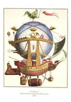 """18th Century balloon print - Balloon """"La Minerve"""""""