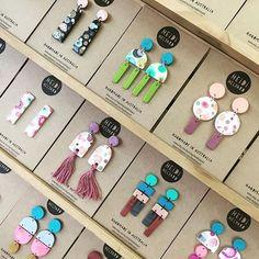 Gorgeous NEW @heidihelyard online & in store @giftsatteacup ❤ #handmade #clay #giftsatteacup #new #online #ruralwomen #womeninbusiness #boutique #shop #shopsmall #shophandmade #colourpop #creative #original #pattern #studs #jewellery #earrings #instadaily