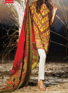 Pakistani Printed Glazed Cotton Pant Style Dress material F4007