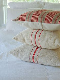 red and taupe ticking pillow by fadedplains on Etsy, $29.00