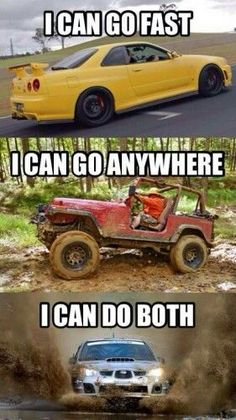 Subaru, you can have your cake and eat it too Truck Memes, Car Jokes, Car Humor, Ford Memes, Funny Car Quotes, Subaru Cars, Subaru Rally, Rally Car, Subaru Impreza