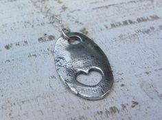 PMC fine silver freeform heart pendant.....Love Wins