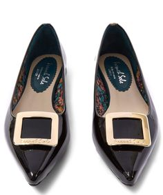 French Sole by Appointment to Liberty Black Patent Leather Buckle Penelope Flats | Womenswear | Liberty.co.uk