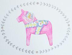 Original Pink Dala Horse Watercolor by NorthwayStudio on Etsy