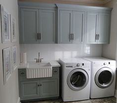 Love this laundry room! (Paint Color. Benjamin Moore CC-690 Piedmont Gray)
