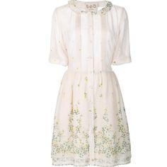 Sea floral print shirt dress (30.460 RUB) ❤ liked on Polyvore featuring dresses, blue, floral dresses, floral shirt dress, pink shirt dress, print dress and blue shirt dress