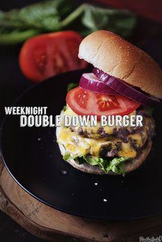 Need a filling and delicious dinner this week? Try a Garlic Chipotle Double Down Burger tonight! Burger Dogs, Good Burger, Amazing Burger, Lamb Burgers, Burger Recipes, Beef Recipes, Cooking Recipes, Grilling Recipes, Hamburgers