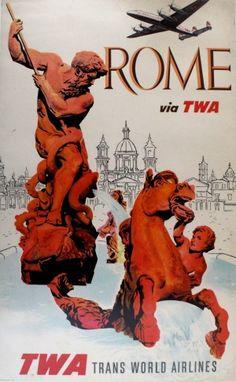 Rome Italy TWA Klein, 1960s - original vintage poster by David Klein listed on AntikBar.co.uk