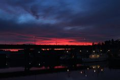 Sunrise over the Ballard Bridge as seen from the NW Dock, Fisherman's Terminal Seattle WA early one morning in December 2011