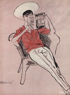 Fashion illustration by René Bouché, Vogue, April 15, 1958.