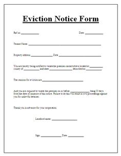 Blank Eviction Notice Form Free Word Templates Tenant Letter 30 Day