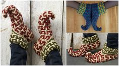 Let's Have some fun and crochet funny slippers. Today at pretty-ideas.com we have searched and want to show you how to crochet creative and funny Elf slippers. You can crochet them in any colors as you like. Start crocheting now and have some fun with your friends or crochet these slippers for your family members. These slippers will be great gift for all, for women and man or for children of course. Please Enjoy and have fun with your close people. Big Thanks to author KJ Hay For Free…